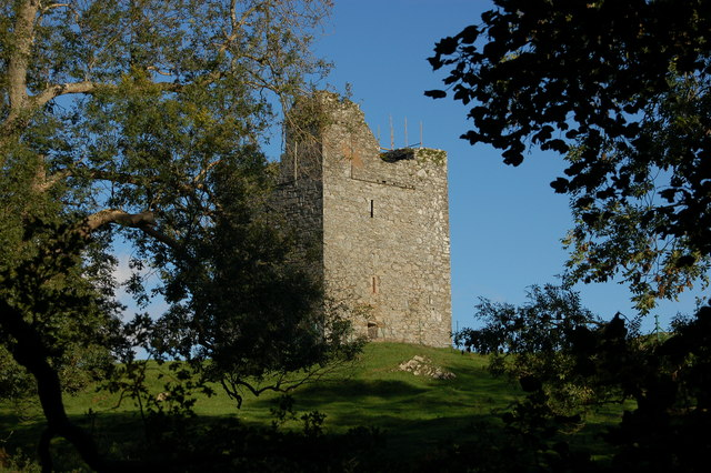File:Audley's Castle, through trees.jpg