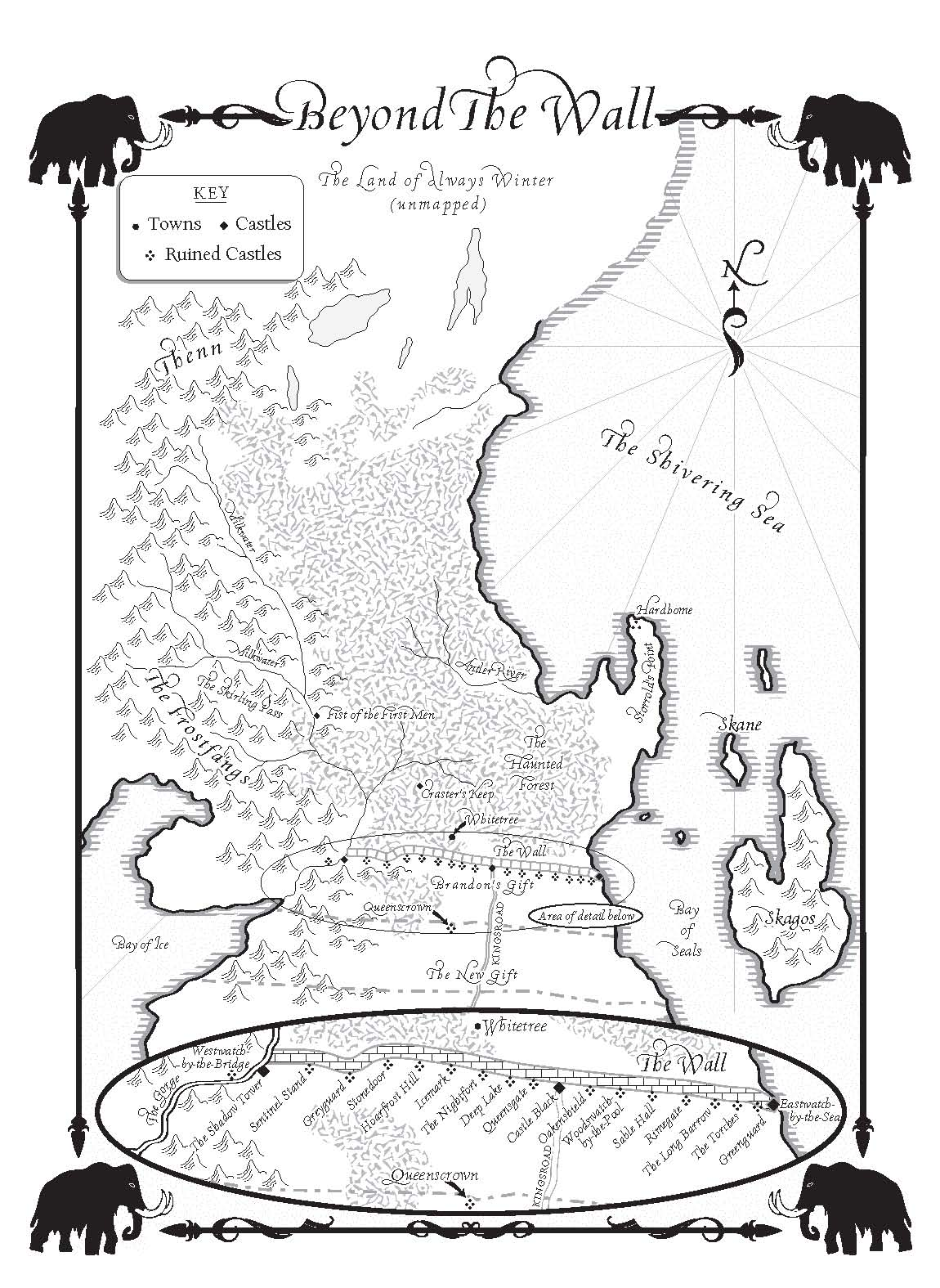 a dance with dragons-map of beyond the wall