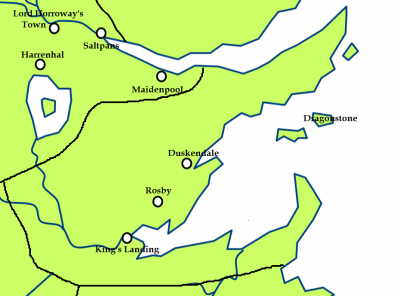 The Crownlands and the location of the Blackwater Rush
