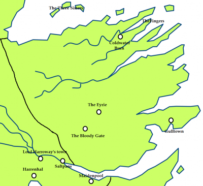 The Vale of Arryn and the location of the Paps