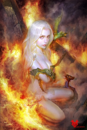 Dany in the flames, birth of her dragons, Art by TeiIku©