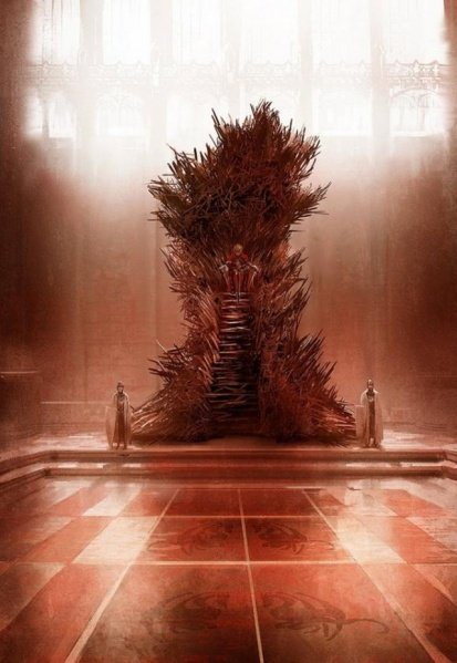 Painting by Marc Simonetti of the Iron Throne, made of swords