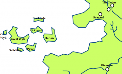 The Iron Islands and the location of Harlaw