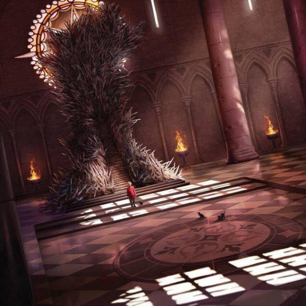 King Tommen I Baratheon and his kittens by the Iron Throne | Famous Chairs