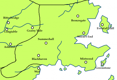 The Stormlands and the location of the Dornish Marches