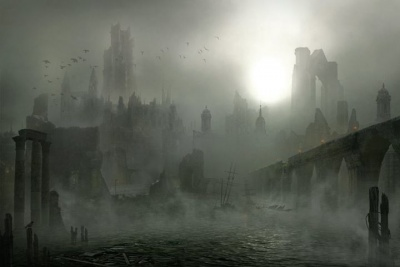 The ruins of Chroyane covered in fog
