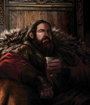 King Robert I Baratheon with a wine cup in hand